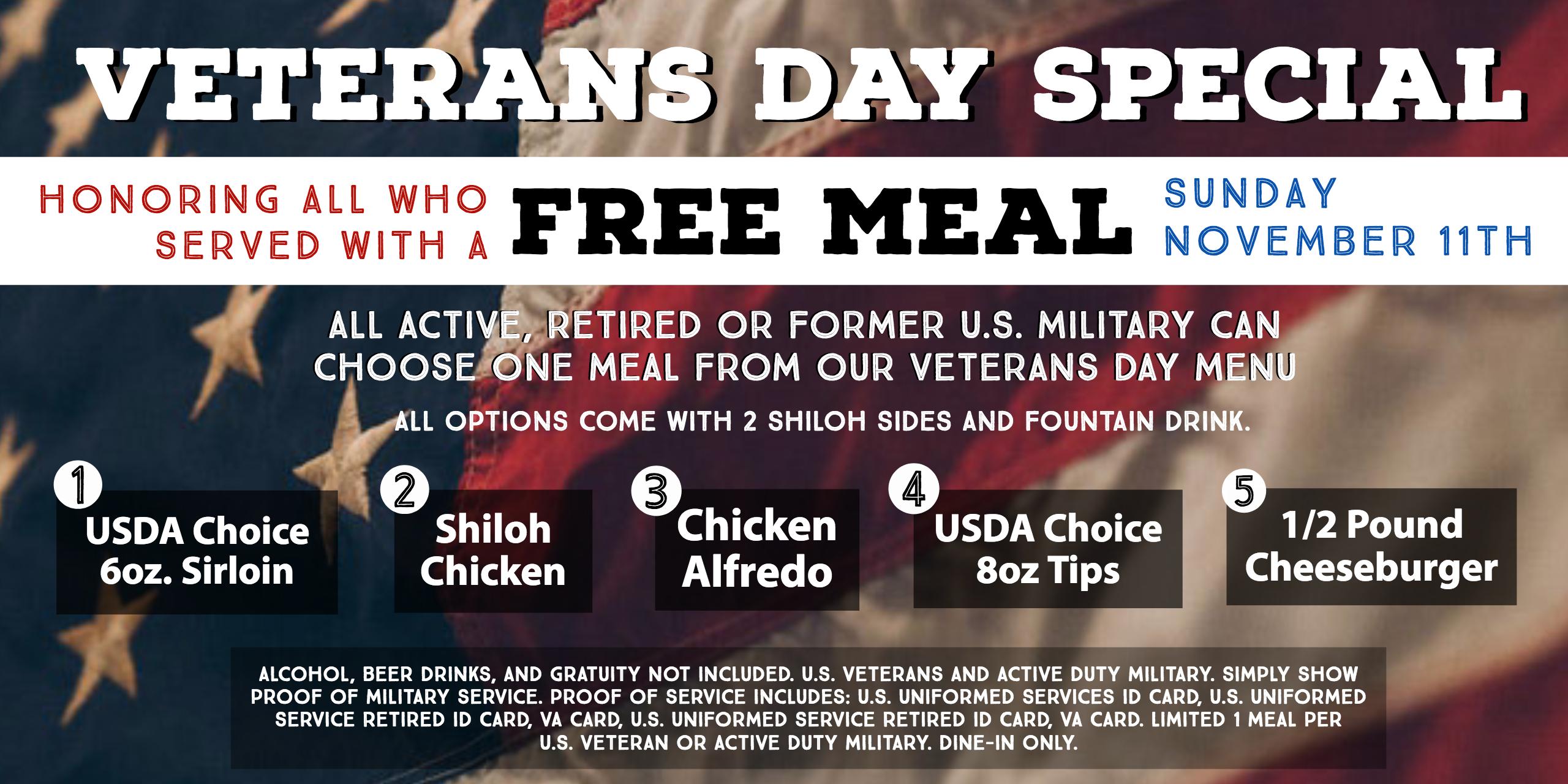 Veteran's Day Special Nov 11th